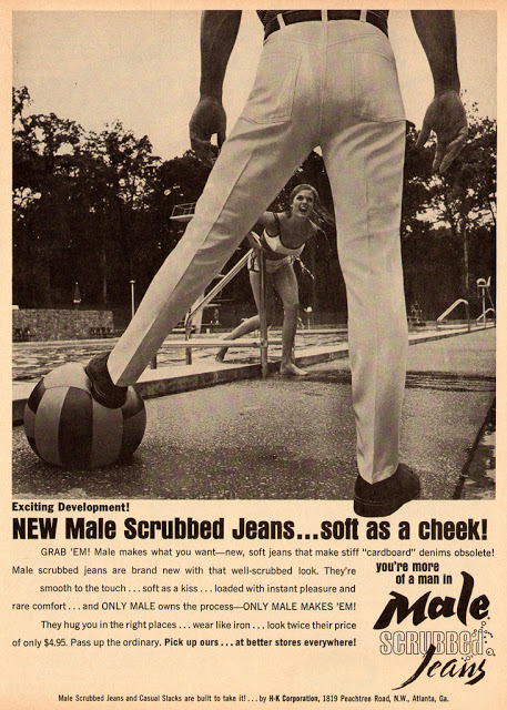 Advertising of Male Scrubbed Jeans, 1965 (1)